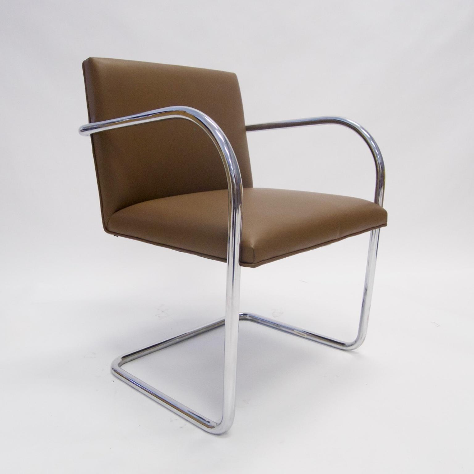 Mies Brno Chair knoll mies van der rohe brno chair in saddle leather | chairish