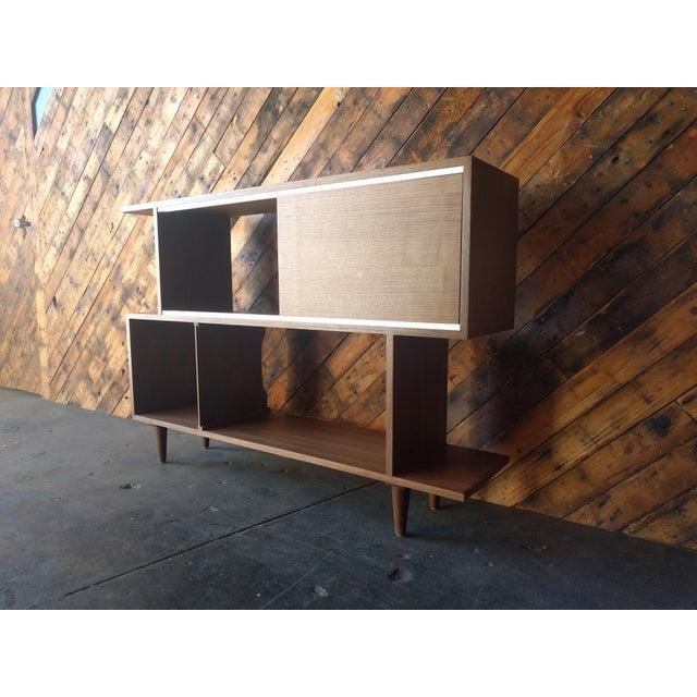 Mid century style custom walnut zig zag shelf chairish - Etagere zig zag ...