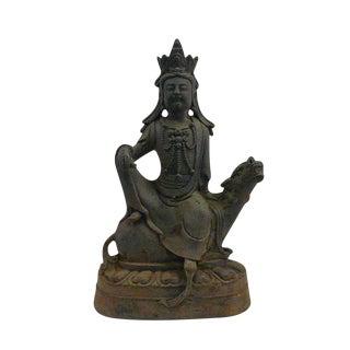 Chinese Kwan Yin Bodhisattva Statue Sitting on Qilin