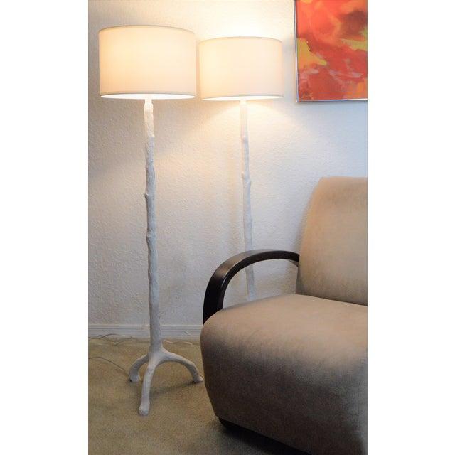 White Faux Bois Floor Lamps Inspired by Serge Roche - a Pair - Image 10 of 11