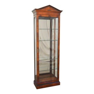 Century Yew Wood Beveled Glass Lighted Curio Cabinet