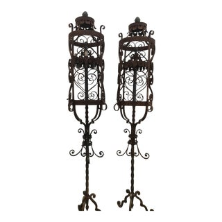 1920s Wrought Iron Lamps - A Pair