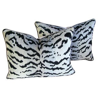 Silver Scalamandre Le Tigre Pillows - A Pair