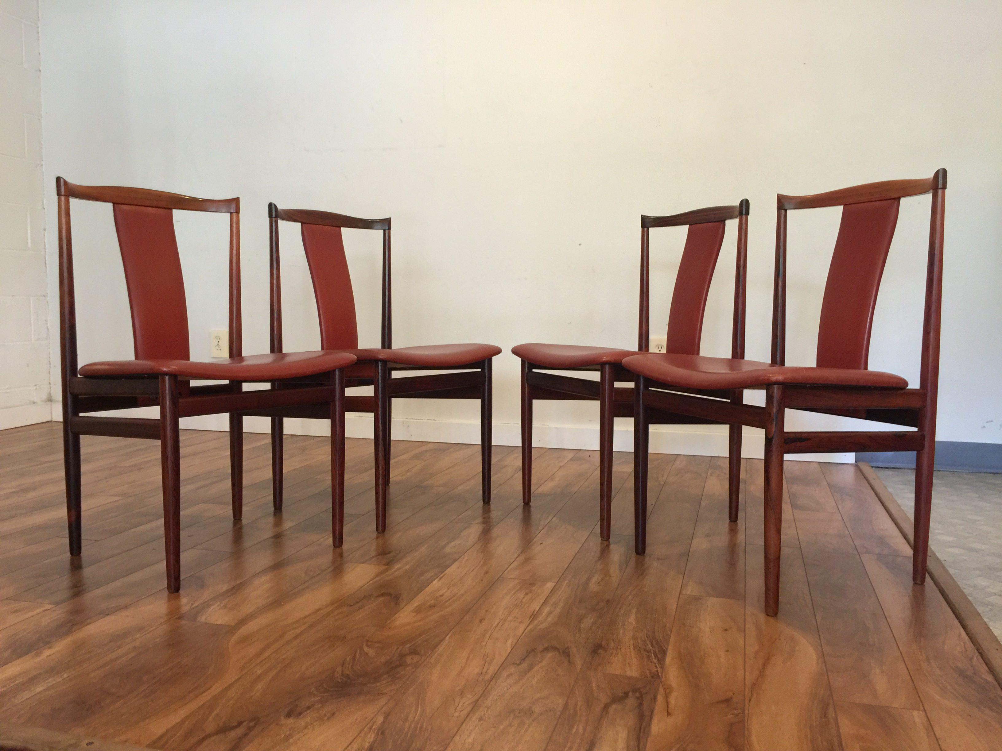 henning sorensen rosewood u0026 leather dining chairs set of 4 image 5 of 11