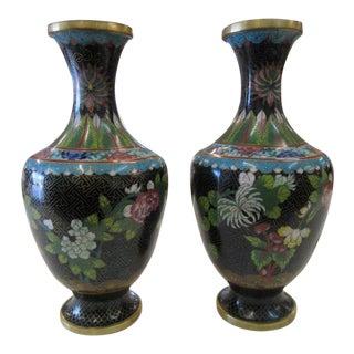 Vintage Blue & Brass Cloisonne Vases - A Pair