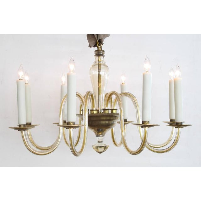 Shapely Murano 1950s Pale Gold Glass Eight-Light Chandelier - Image 2 of 5