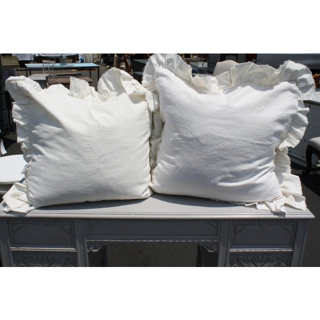 Image of Off-White European Linen Pillows - A Pair