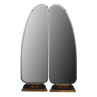 Art Deco Vanity Mirrored Panels - A Pair