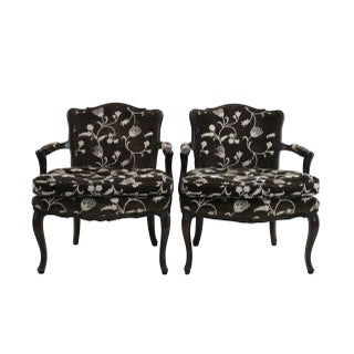 French Style Crewelwork Bergere Chairs - Pair