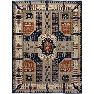 Kafkaz Peshawar Monroe Blue & Ivory Wool Rug - 9'1 X 12'1