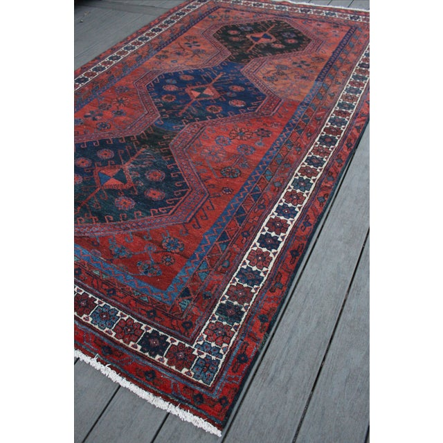 Red navy vintage persian rug 5 39 1 x 8 39 6 chairish for Red and navy rug