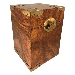 Vintage Burl Box with Brass Accents