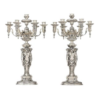 Puiforcat Silver Plate Candelabra - A Pair