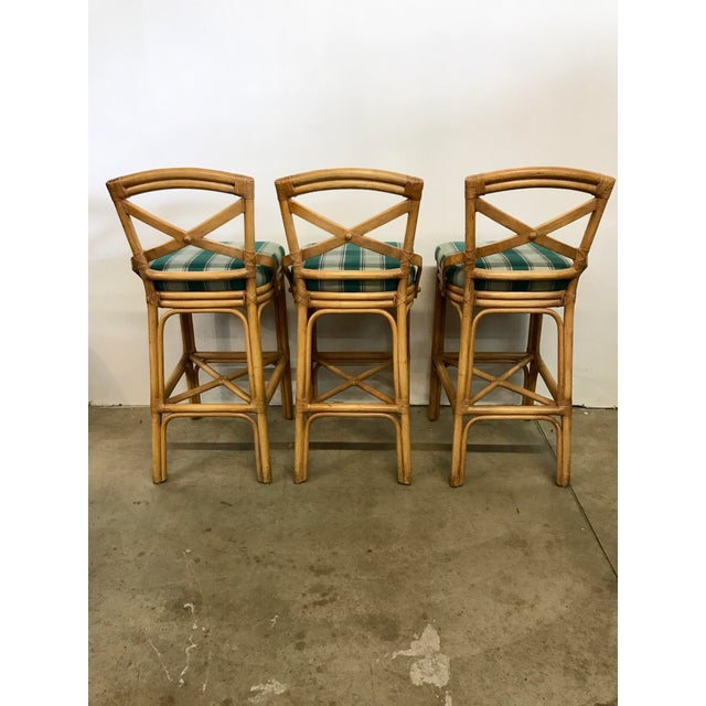vintage rattan x back bar stools set of 3 chairish. Black Bedroom Furniture Sets. Home Design Ideas
