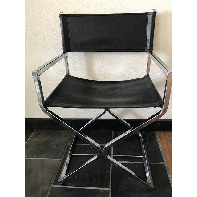 Vintage Mid-Century Modern Black Vinyl & Chrome Director Chair - Image 2 of 8