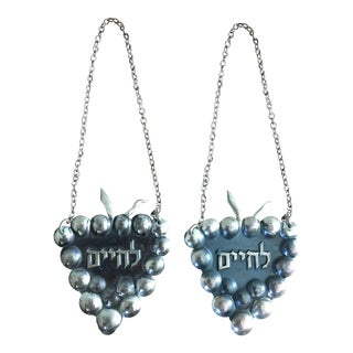 Sterling Silver l'Chaim Wine Label - A Pair
