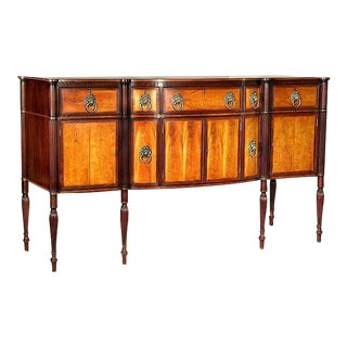 Flame Birch & Mahogany Federal Sheraton Bow-Front Sideboard