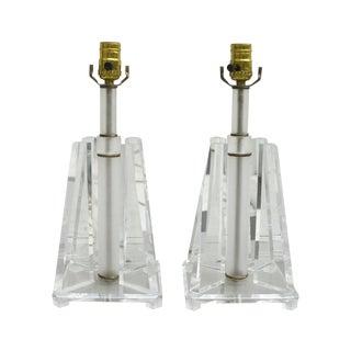 Vintage Mid Century Lucite Lamps - Pair