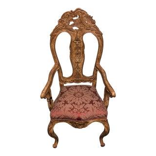 Venetian Carved Upholstered Armchair
