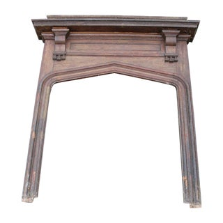 1905 Gothic Revival Oak Fireplace Mantel