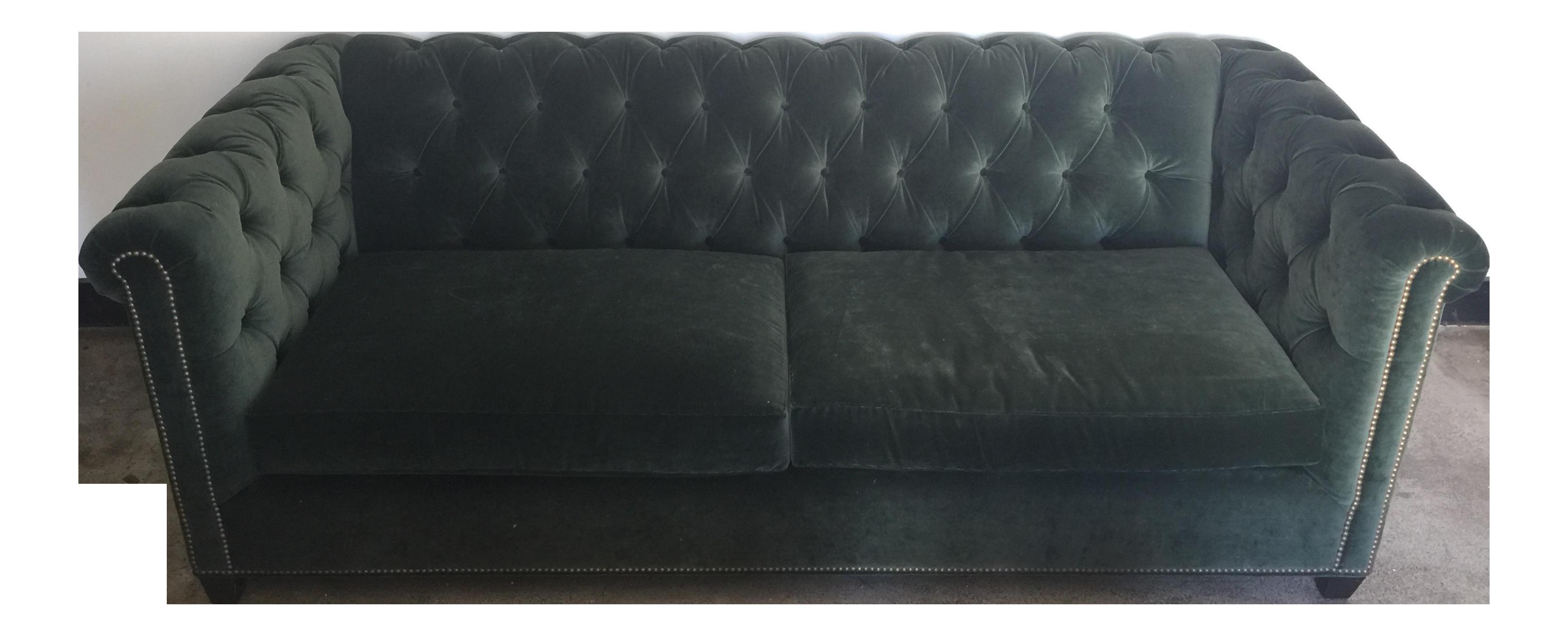 Hollywood Regency Dark Green Velvet Tufted Couch