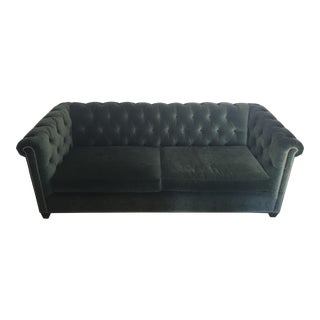 Hollywood Regency Dark Green Velvet Tufted Couch