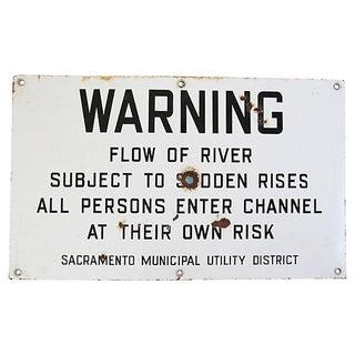 Vintage 1960s Metal Warning Sudden Flooding Sign