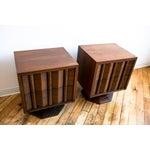 Image of Paul Evans Style Mid-Century Brutalist Pedestal Night Stands- A Pair