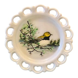 Anchor Hocking Milk Glass Lace Edge Hand Painted Warbler Bird Plate