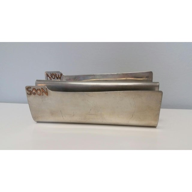 Vintage Silver Copper Soon & Now Letter Holder - Image 6 of 6