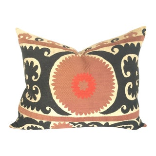 Black and Cabernet Vintage Suzani Pillow