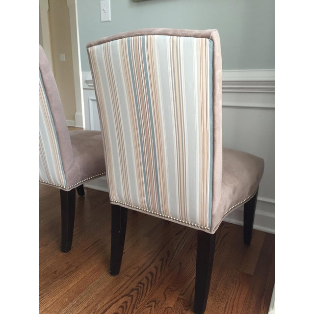 Lee Industries Upholstered Dining Chairs With Accent Fabric on Back - Set of 4 - Image 9 of 12