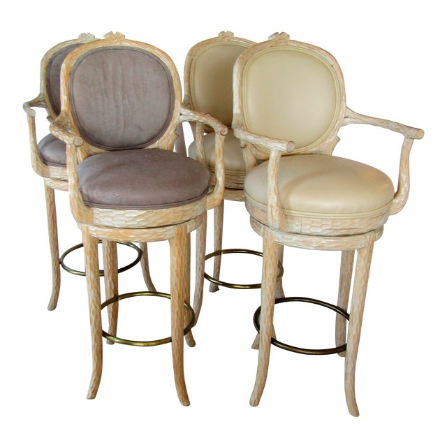Faux Bois & Leather Upholstered Swivel Bar Stools - Set of 4 - Image 1 of 6