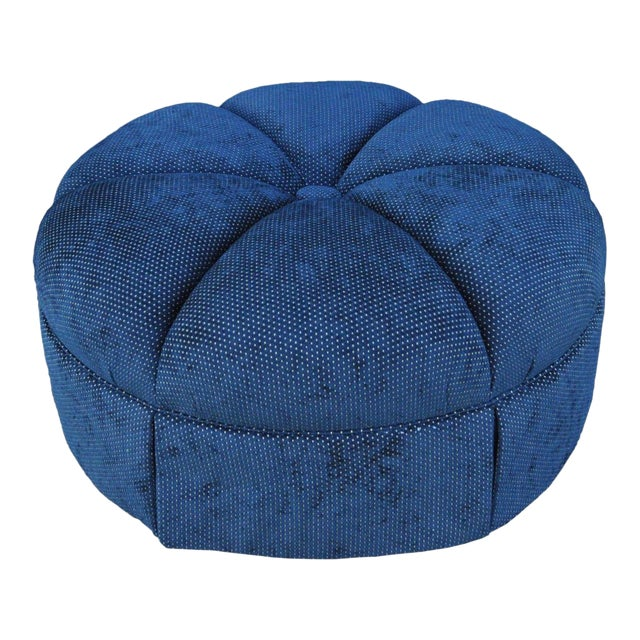 Century Furniture Hollywood Regency Style Large Century Blue Tufted Ottoman - Image 1 of 11