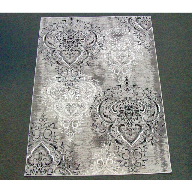 "Damask Gray & White Rug- 8' x 10'7"" - Image 2 of 7"