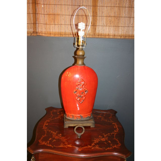 Large Tuscan Red Table Lamp - Image 8 of 10