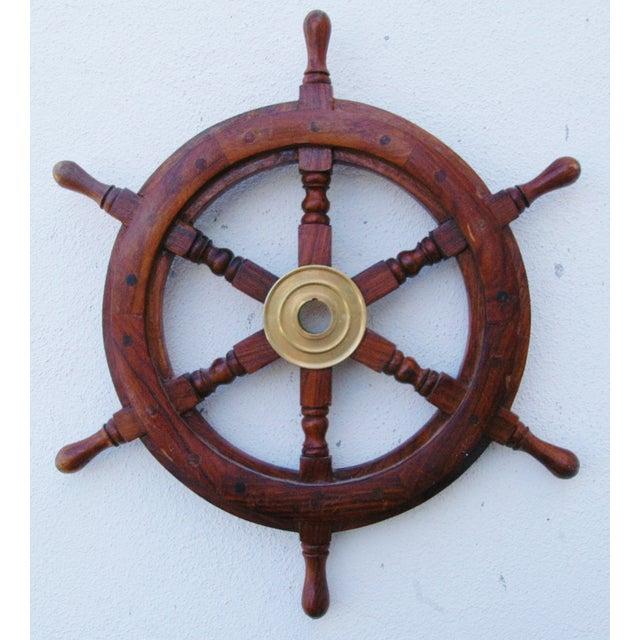 Mahogany & Brass Nautical Boat Ship Steering Wheel - Image 3 of 5