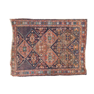 "Antique Distressed Afshar Square Rug - 4'4"" X 5'7"""