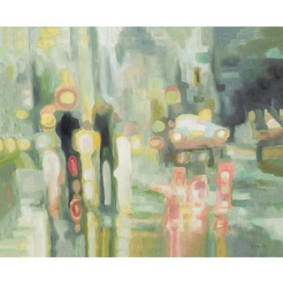Abstract Blurred City Reflections Acrylic Painting by Sarah Atkinson