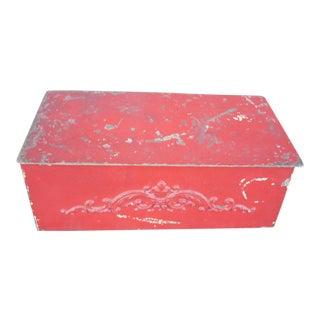 Red Metal Tobacco Box