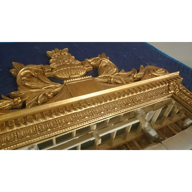 French Neoclassical Style Gold Leaf Finished Wall Mirror - Image 5 of 7
