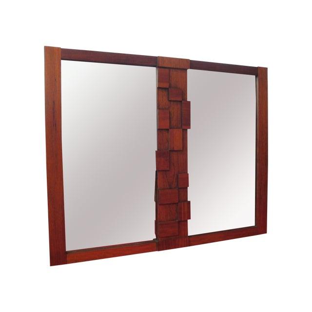 Large Wood Mosaic Brutalist Modern Mirror by Lane - Image 1 of 6
