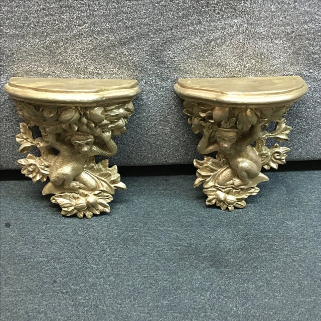 Image of French Gilded Carved Monkey Shelves - Pair
