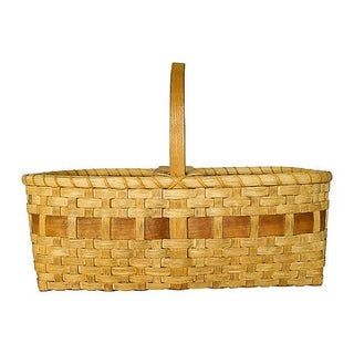 Vintage Large Handmade Black Ash Wood Basket