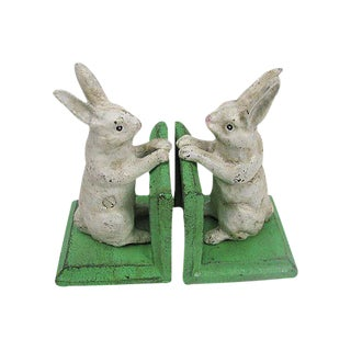 Cast Iron White Bunny Bookends - A Pair