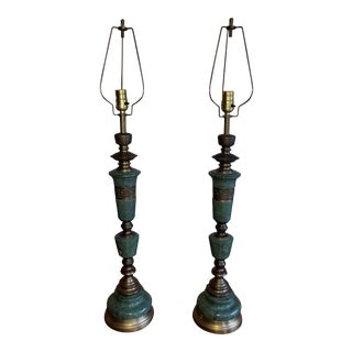 Mid-Century Green Marble & Brass Table Lamps - A Pair