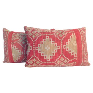 Vintage Block Print Kantha Quilt Pillows - A Pair