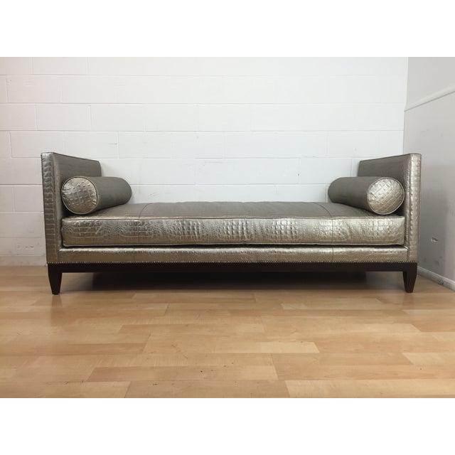 Platinum Faux Crocodile Backless Sofa Chairish