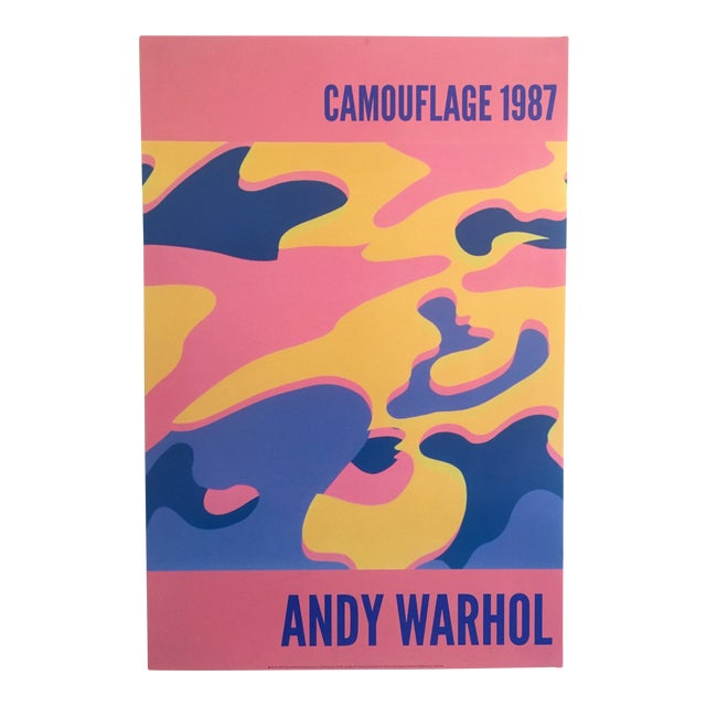 """Andy Warhol Original Lithograph Pop Art Poster """"Pink Camouflage"""" 1987 - Image 1 of 10"""