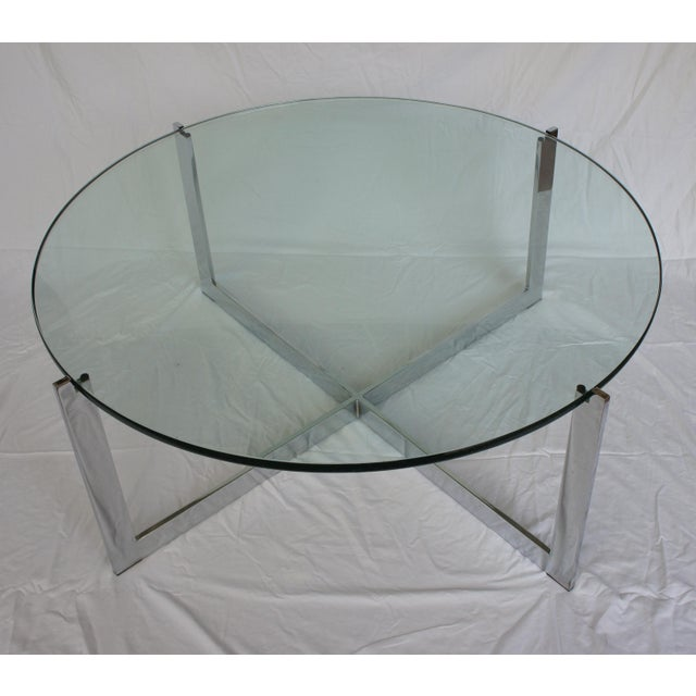 Milo Baughman Chrome & Glass Round Coffee Table - Image 2 of 11